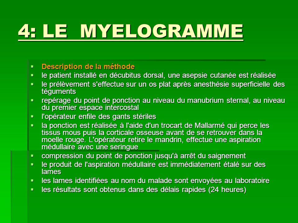 4: LE MYELOGRAMME Description de la méthode Description de la méthode le patient installé en décubitus dorsal, une asepsie cutanée est réalisée le pat