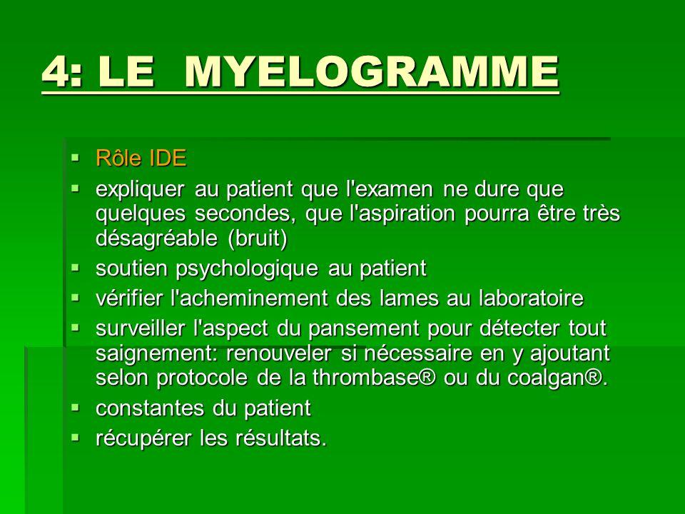 4: LE MYELOGRAMME Rôle IDE Rôle IDE expliquer au patient que l'examen ne dure que quelques secondes, que l'aspiration pourra être très désagréable (br