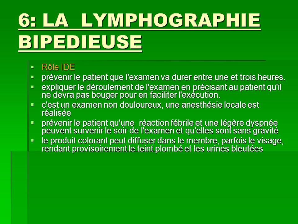 6: LA LYMPHOGRAPHIE BIPEDIEUSE Rôle IDE Rôle IDE prévenir le patient que l'examen va durer entre une et trois heures. prévenir le patient que l'examen