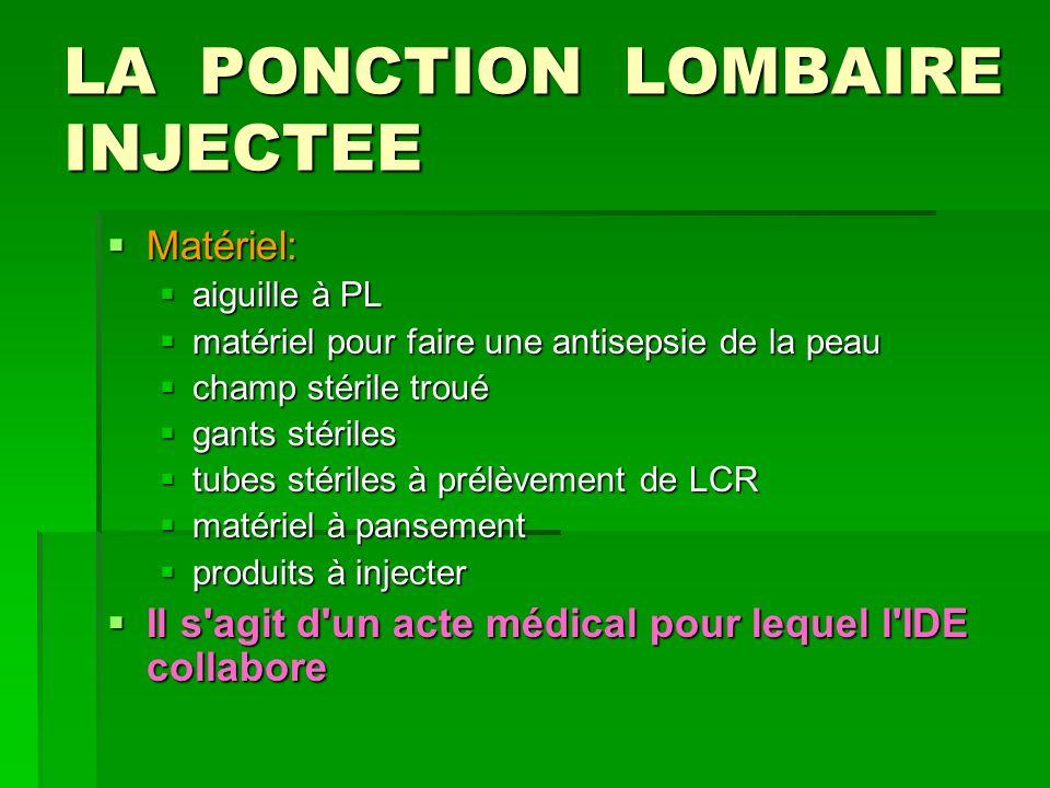 LA PONCTION LOMBAIRE INJECTEE Matériel: Matériel: aiguille à PL aiguille à PL matériel pour faire une antisepsie de la peau matériel pour faire une an