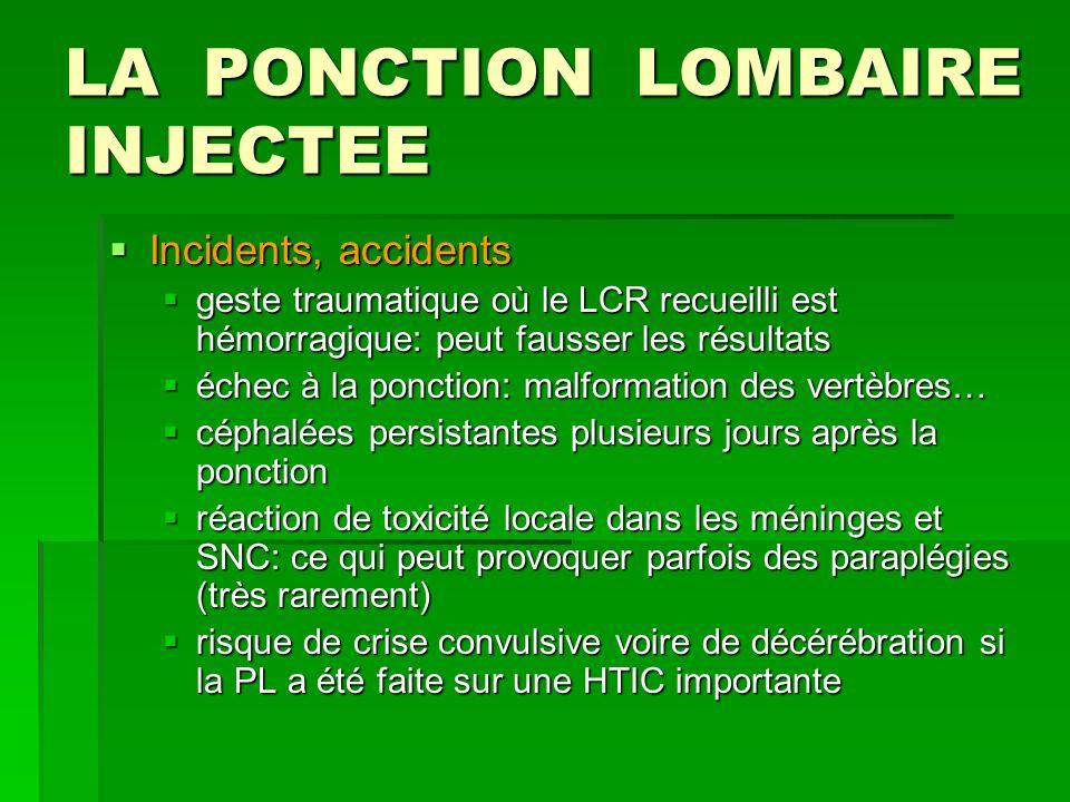 LA PONCTION LOMBAIRE INJECTEE Incidents, accidents Incidents, accidents geste traumatique où le LCR recueilli est hémorragique: peut fausser les résul