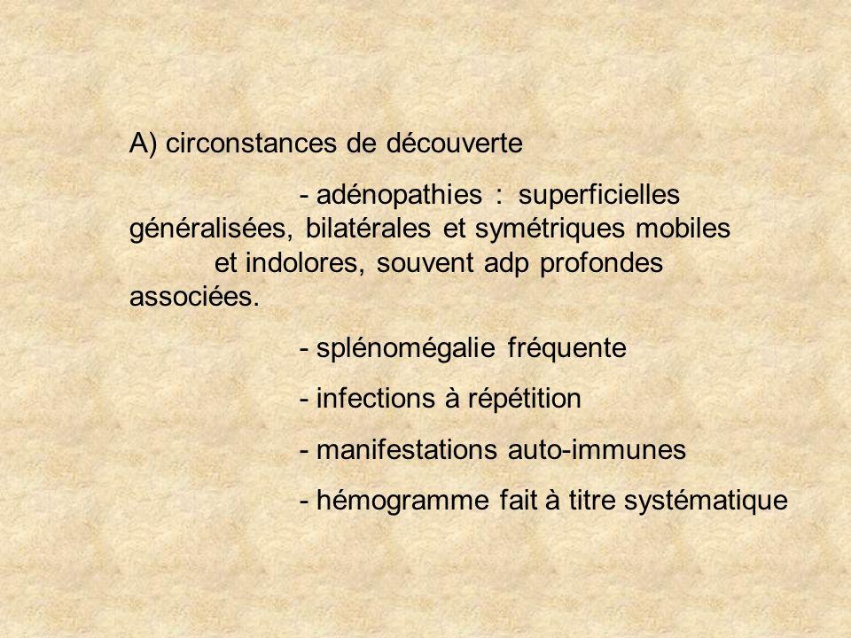 A) circonstances de découverte - adénopathies : superficielles généralisées, bilatérales et symétriques mobiles et indolores, souvent adp profondes as