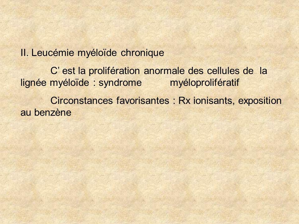 II. Leucémie myéloïde chronique C est la prolifération anormale des cellules de la lignée myéloïde : syndrome myéloprolifératif Circonstances favorisa