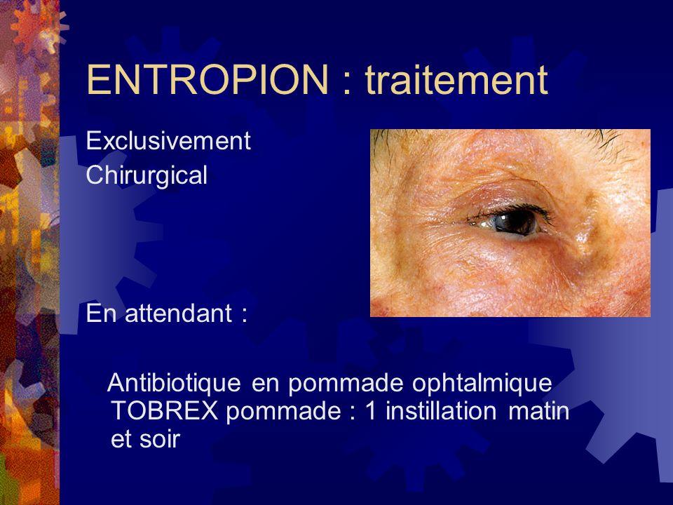 ENTROPION : traitement Exclusivement Chirurgical En attendant : Antibiotique en pommade ophtalmique TOBREX pommade : 1 instillation matin et soir