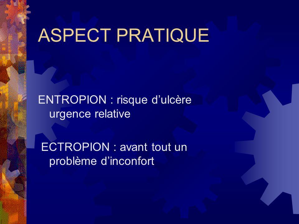 ASPECT PRATIQUE ENTROPION : risque dulcère urgence relative ECTROPION : avant tout un problème dinconfort