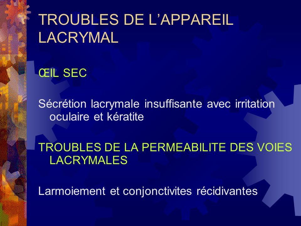 TROUBLES DE LAPPAREIL LACRYMAL ŒIL SEC Sécrétion lacrymale insuffisante avec irritation oculaire et kératite TROUBLES DE LA PERMEABILITE DES VOIES LAC