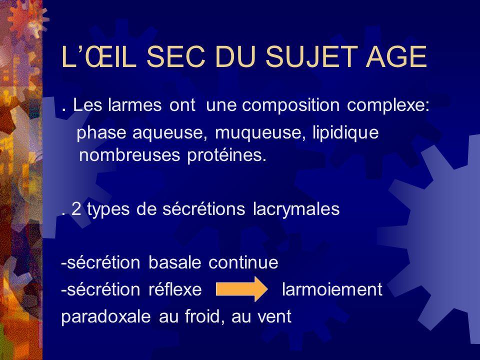 LŒIL SEC DU SUJET AGE. Les larmes ont une composition complexe: phase aqueuse, muqueuse, lipidique nombreuses protéines.. 2 types de sécrétions lacrym