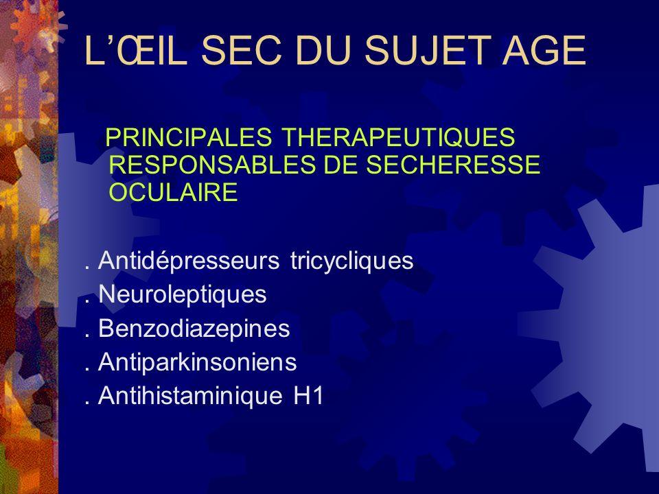LŒIL SEC DU SUJET AGE PRINCIPALES THERAPEUTIQUES RESPONSABLES DE SECHERESSE OCULAIRE. Antidépresseurs tricycliques. Neuroleptiques. Benzodiazepines. A