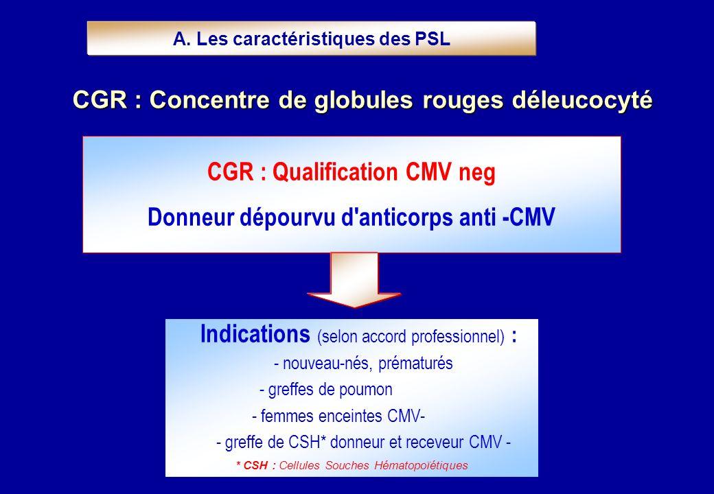 CGR : Qualification CMV neg Donneur dépourvu d'anticorps anti -CMV A. Les caractéristiques des PSL CGR : Concentre de globules rouges déleucocyté Indi