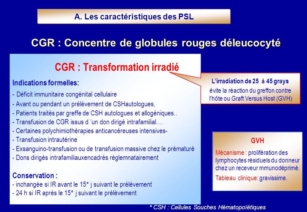CGR : Transformation irradié Indications formelles: - Déficit immunitaire congénital cellulaire - Avant ou pendant un prélèvement de CSHautologues, -