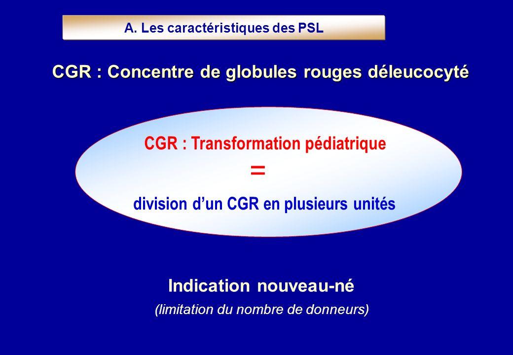 division dun CGR en plusieurs unités CGR : Transformation pédiatrique A. Les caractéristiques des PSL Indication nouveau-né (limitation du nombre de d