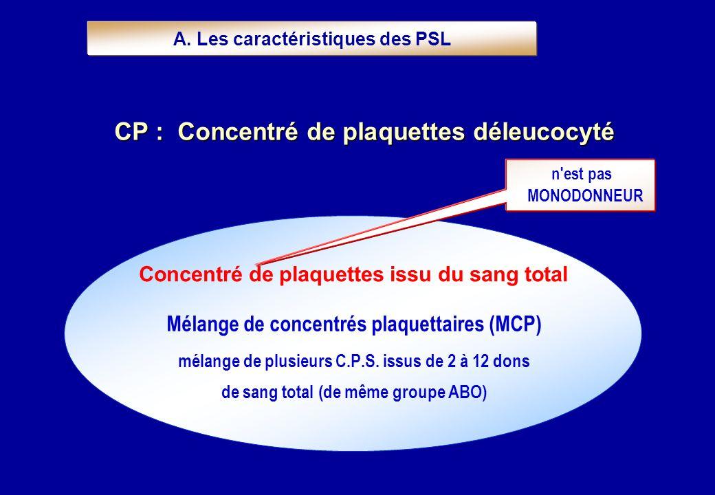 Mélange de concentrés plaquettaires (MCP) mélange de plusieurs C.P.S. issus de 2 à 12 dons de sang total (de même groupe ABO) Concentré de plaquettes
