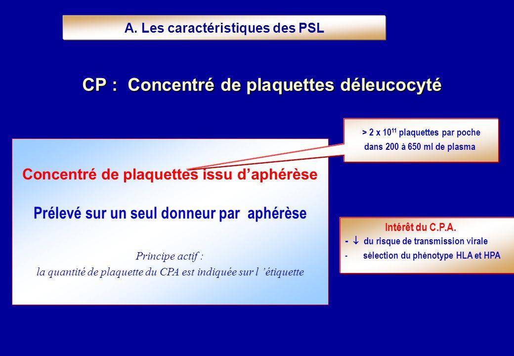 Concentré de plaquettes issu daphérèse Prélevé sur un seul donneur par aphérèse Principe actif : la quantité de plaquette du CPA est indiquée sur l ét
