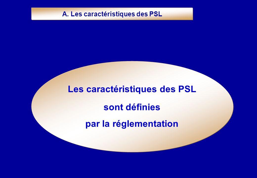 A. Les caractéristiques des PSL Les caractéristiques des PSL sont définies par la réglementation