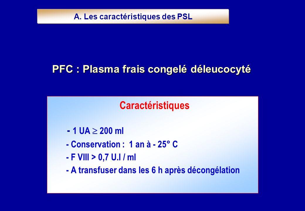 Caractéristiques - 1 UA 200 ml - Conservation : 1 an à - 25° C - F VIII > 0,7 U.I / ml - A transfuser dans les 6 h après décongélation PFC : Plasma fr