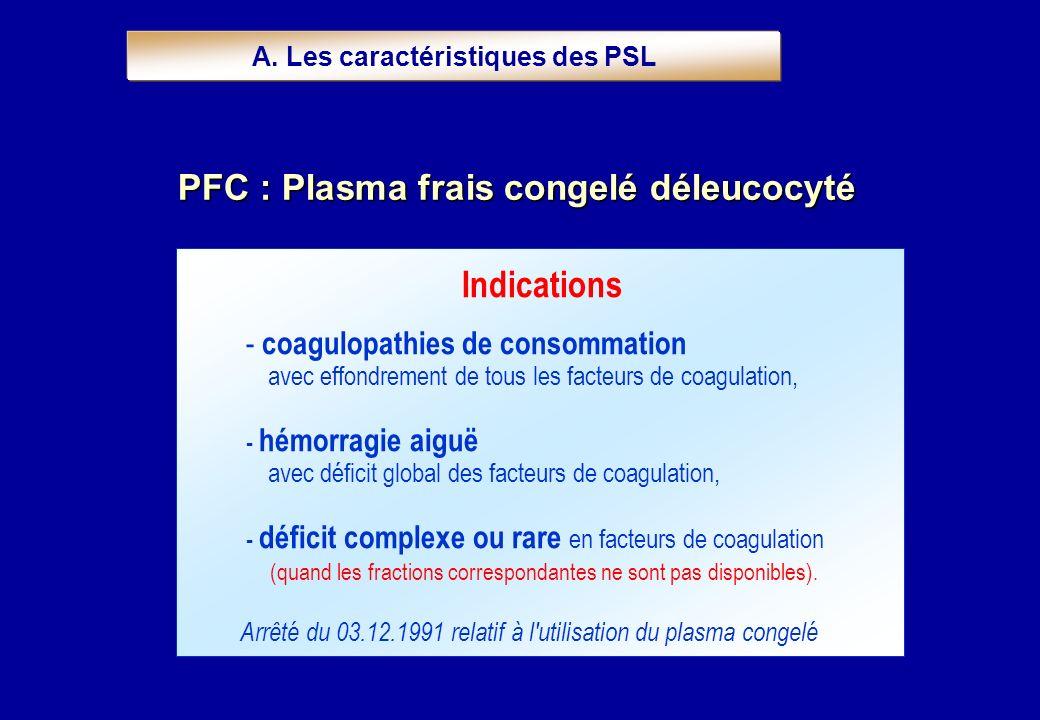 Indications - coagulopathies de consommation avec effondrement de tous les facteurs de coagulation, - hémorragie aiguë avec déficit global des facteur