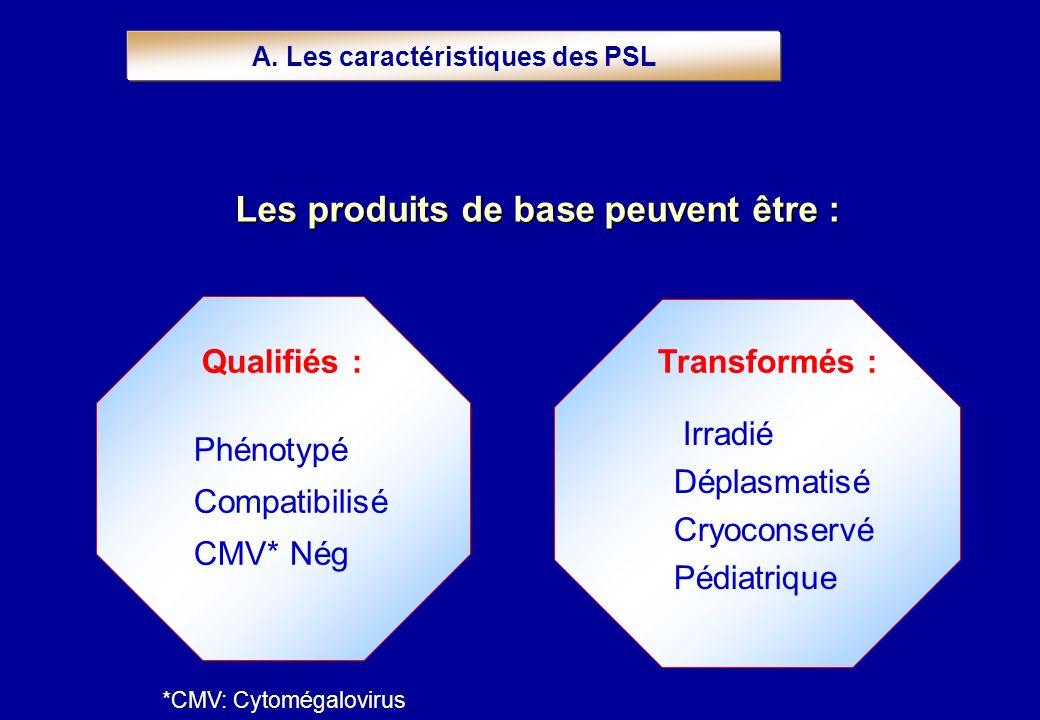 Les produits de basepeuvent être : Les produits de base peuvent être : A. Les caractéristiques des PSL Qualifiés : Phénotypé Compatibilisé CMV* Nég Tr