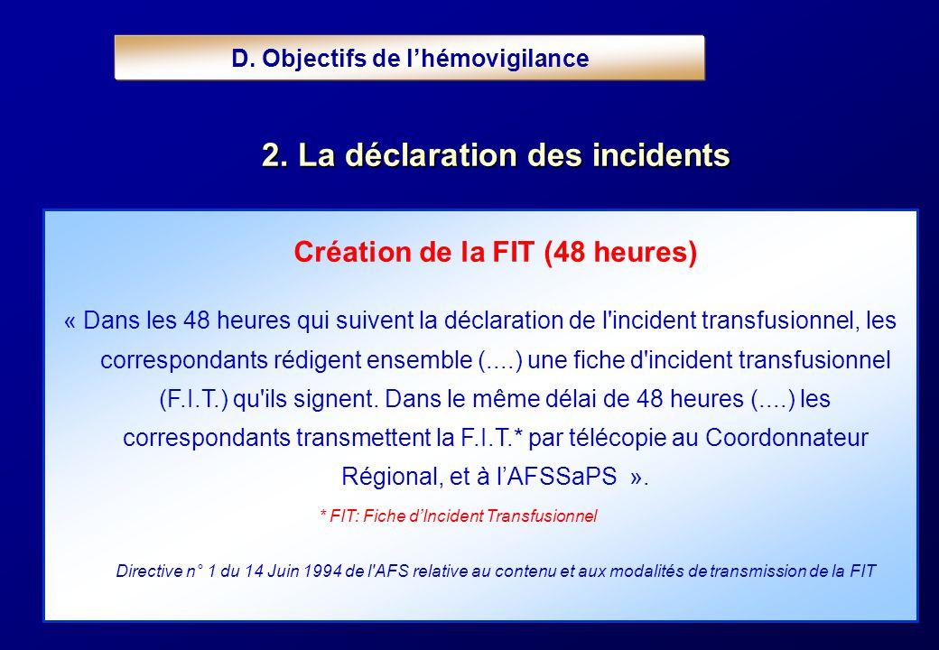 Création de la FIT (48 heures) « Dans les 48 heures qui suivent la déclaration de l'incident transfusionnel, les correspondants rédigent ensemble (...
