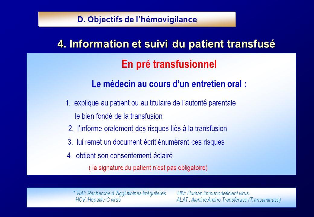 En pré transfusionnel Le médecin au cours dun entretien oral : 1. explique au patient ou au titulaire de lautorité parentale le bien fondé de la trans