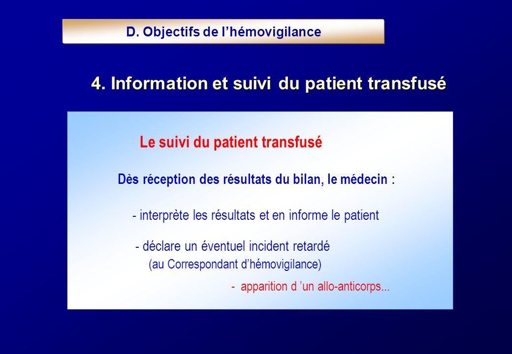 Le suivi du patient transfusé Dès réception des résultats du bilan, le médecin : - interprète les résultats et en informe le patient - déclare un éven