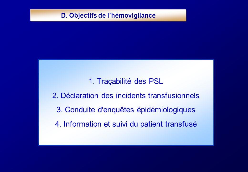 1. Traçabilité des PSL 2. Déclaration des incidents transfusionnels 3. Conduite d'enquêtes épidémiologiques 4. Information et suivi du patient transfu