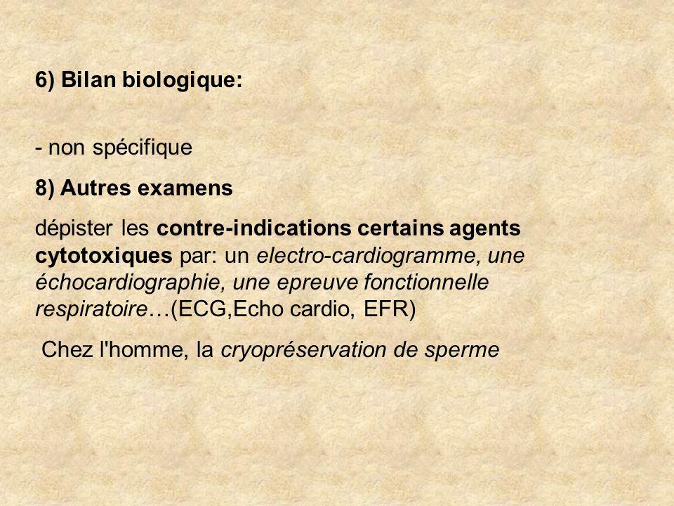 6) Bilan biologique: - non spécifique 8) Autres examens dépister les contre-indications certains agents cytotoxiques par: un electro-cardiogramme, une