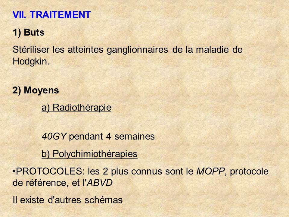 VII. TRAITEMENT 1) Buts Stériliser les atteintes ganglionnaires de la maladie de Hodgkin. 2) Moyens a) Radiothérapie 40GY pendant 4 semaines b) Polych