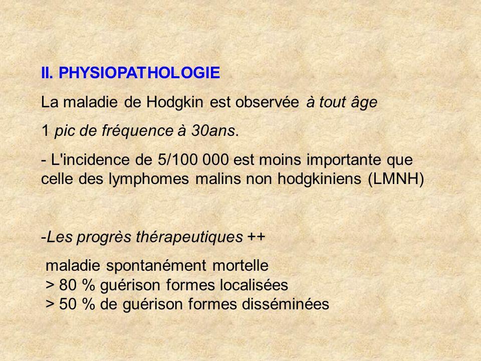 II. PHYSIOPATHOLOGIE La maladie de Hodgkin est observée à tout âge 1 pic de fréquence à 30ans. - L'incidence de 5/100 000 est moins importante que cel