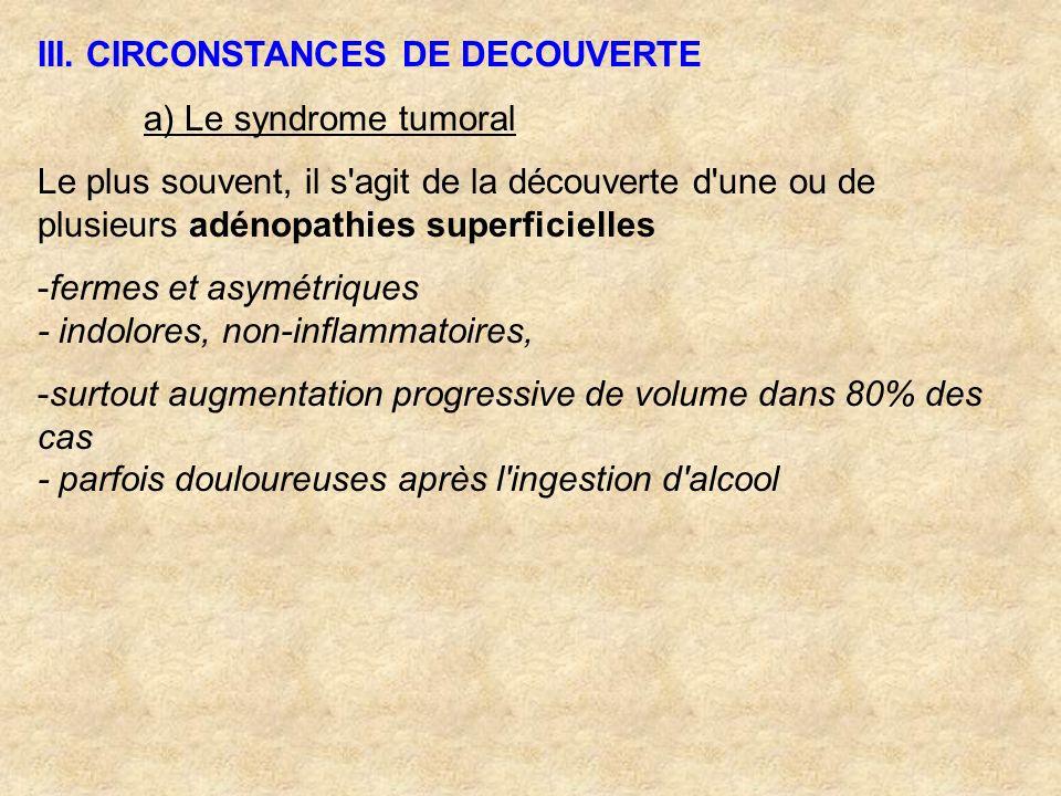 III. CIRCONSTANCES DE DECOUVERTE a) Le syndrome tumoral Le plus souvent, il s'agit de la découverte d'une ou de plusieurs adénopathies superficielles