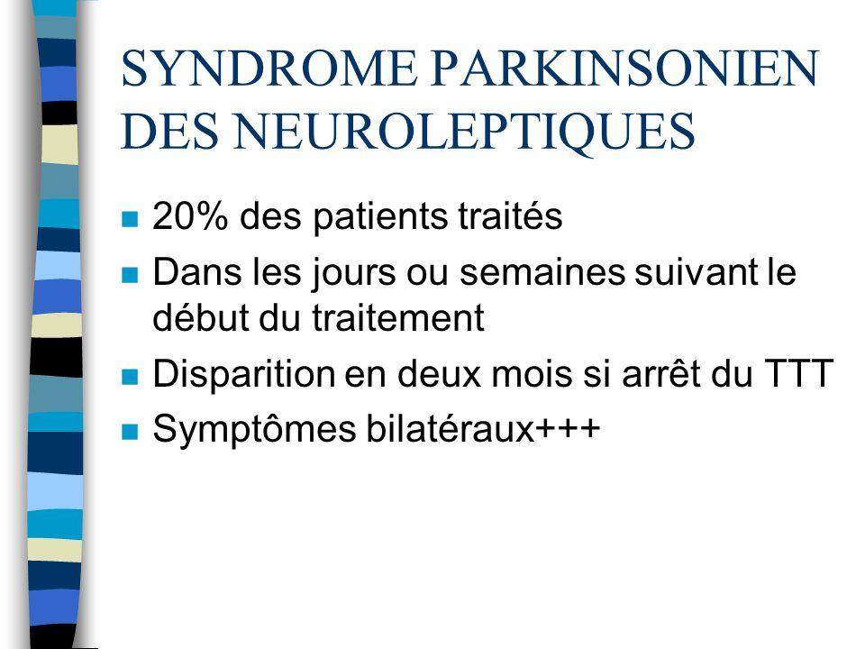 SYNDROME PARKINSONIEN DES NEUROLEPTIQUES n 20% des patients traités n Dans les jours ou semaines suivant le début du traitement n Disparition en deux mois si arrêt du TTT n Symptômes bilatéraux+++