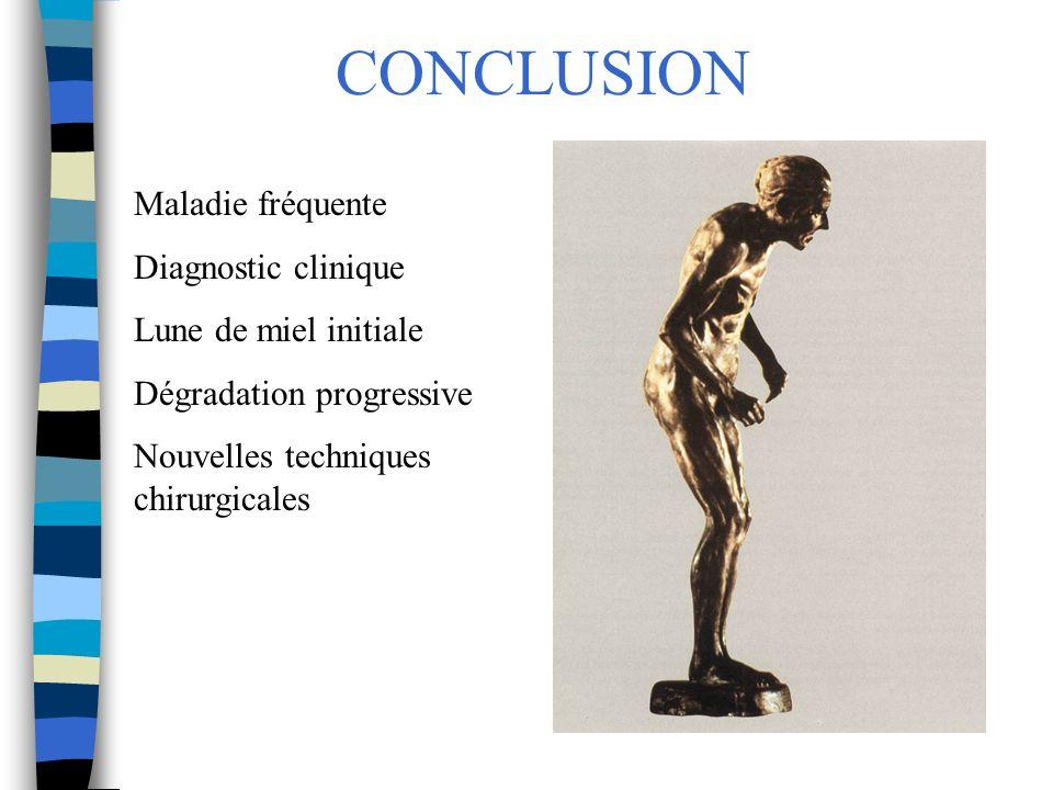 CONCLUSION Maladie fréquente Diagnostic clinique Lune de miel initiale Dégradation progressive Nouvelles techniques chirurgicales