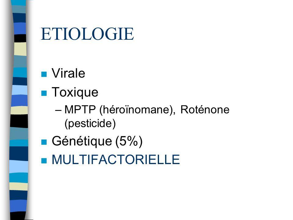 ETIOLOGIE n Virale n Toxique –MPTP (héroïnomane), Roténone (pesticide) n Génétique (5%) n MULTIFACTORIELLE