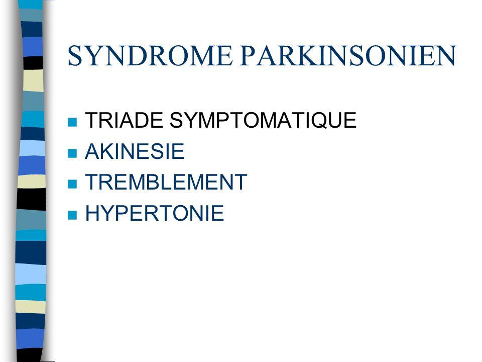 SYNDROME PARKINSONIEN n TRIADE SYMPTOMATIQUE n AKINESIE n TREMBLEMENT n HYPERTONIE