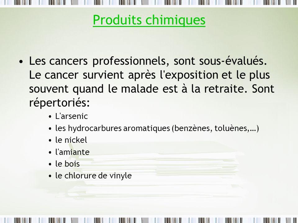 Produits chimiques Les cancers professionnels, sont sous-évalués. Le cancer survient après l'exposition et le plus souvent quand le malade est à la re