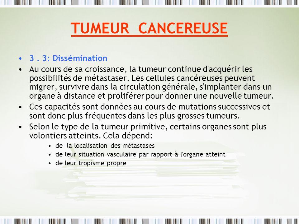 TUMEUR CANCEREUSE 3. 3: Dissémination Au cours de sa croissance, la tumeur continue d'acquérir les possibilités de métastaser. Les cellules cancéreuse