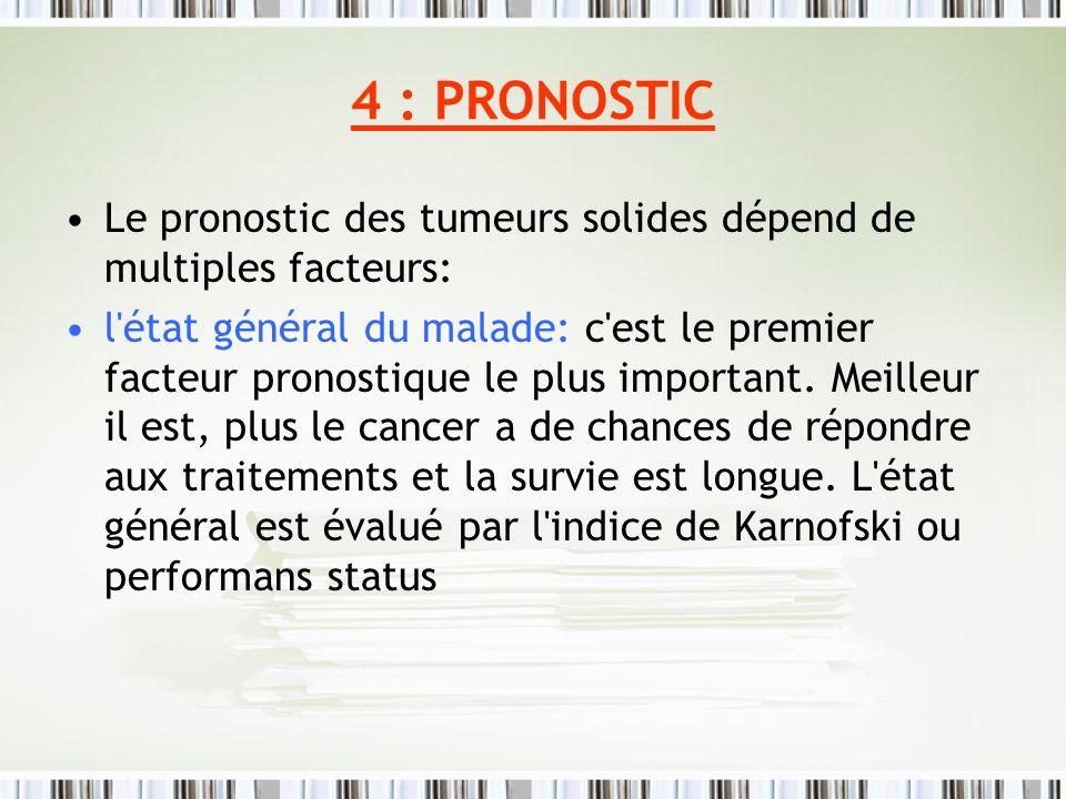 4 : PRONOSTIC Le pronostic des tumeurs solides dépend de multiples facteurs: l'état général du malade: c'est le premier facteur pronostique le plus im