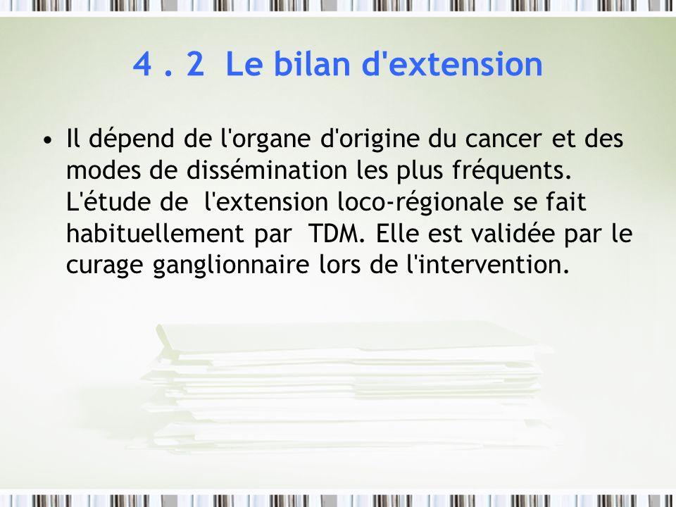 4. 2 Le bilan d'extension Il dépend de l'organe d'origine du cancer et des modes de dissémination les plus fréquents. L'étude de l'extension loco-régi