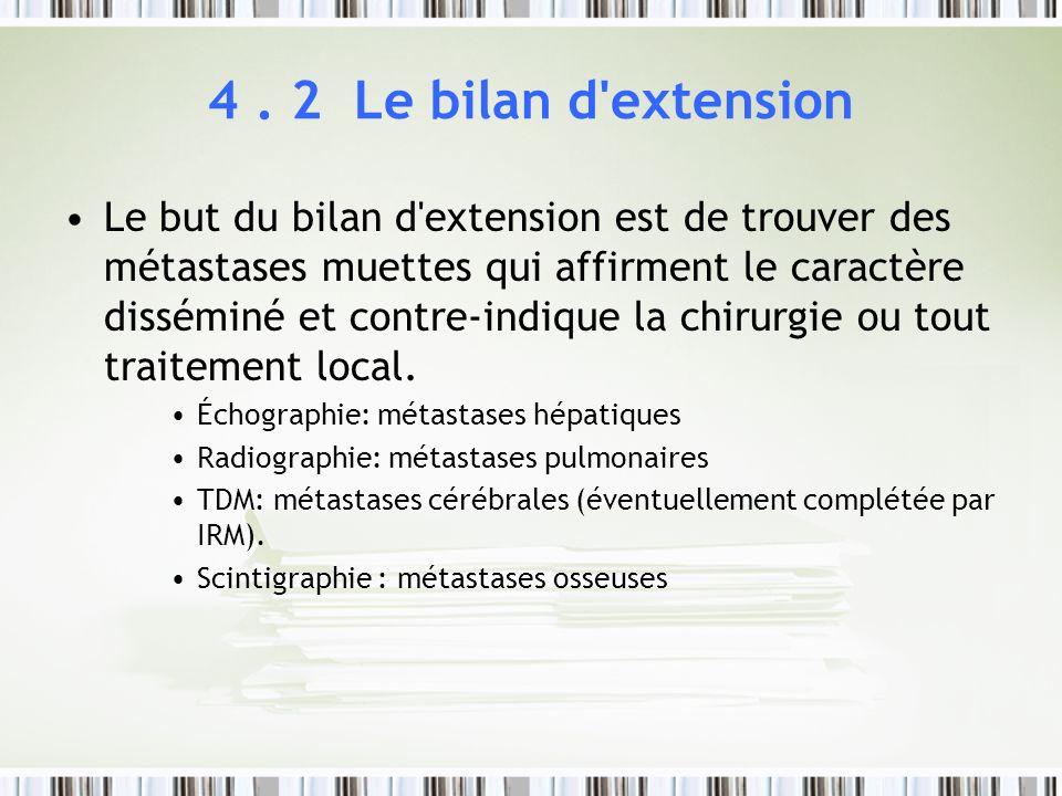 4. 2 Le bilan d'extension Le but du bilan d'extension est de trouver des métastases muettes qui affirment le caractère disséminé et contre-indique la
