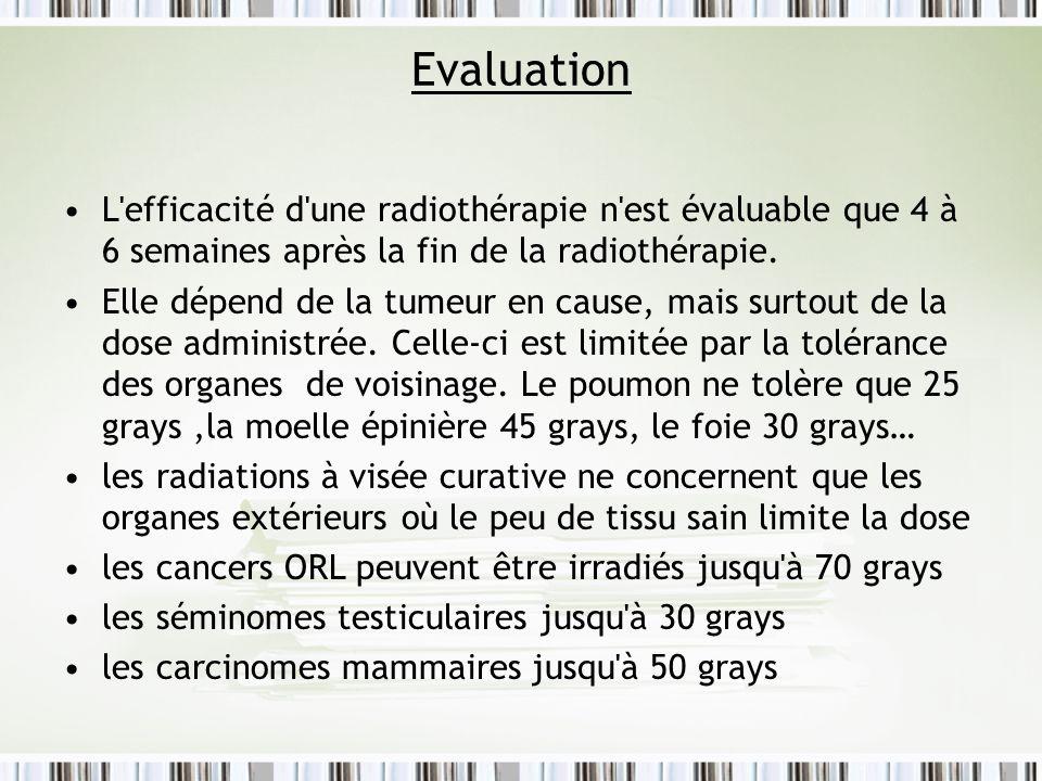 Evaluation L'efficacité d'une radiothérapie n'est évaluable que 4 à 6 semaines après la fin de la radiothérapie. Elle dépend de la tumeur en cause, ma