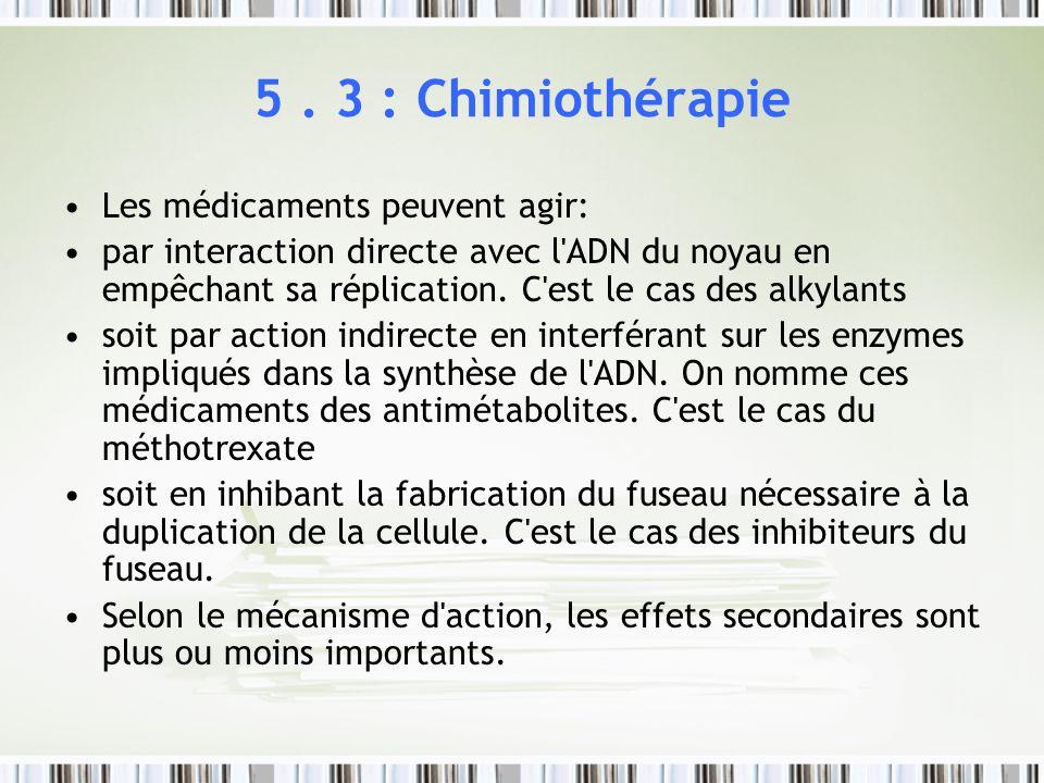 5. 3 : Chimiothérapie Les médicaments peuvent agir: par interaction directe avec l'ADN du noyau en empêchant sa réplication. C'est le cas des alkylant