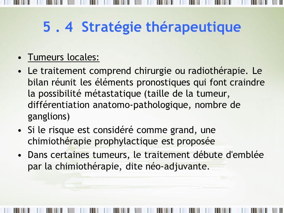 5. 4 Stratégie thérapeutique Tumeurs locales: Le traitement comprend chirurgie ou radiothérapie. Le bilan réunit les éléments pronostiques qui font cr