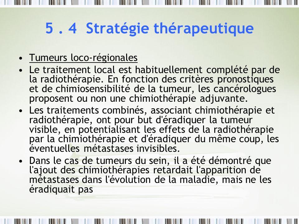 5. 4 Stratégie thérapeutique Tumeurs loco-régionales Le traitement local est habituellement complété par de la radiothérapie. En fonction des critères