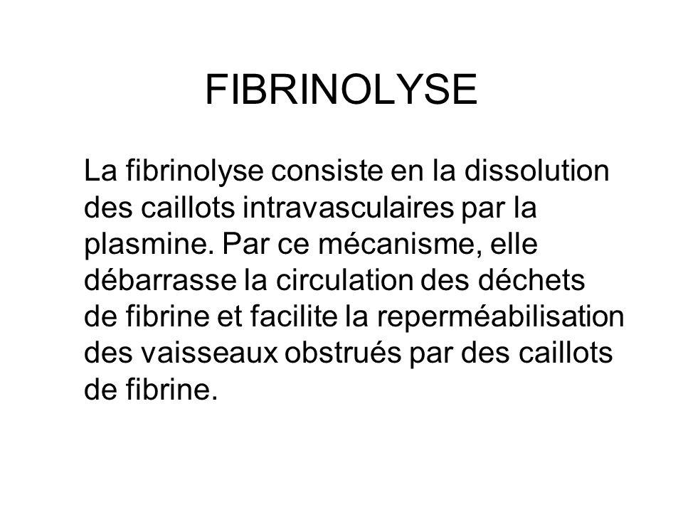 FIBRINOLYSE La fibrinolyse consiste en la dissolution des caillots intravasculaires par la plasmine. Par ce mécanisme, elle débarrasse la circulation