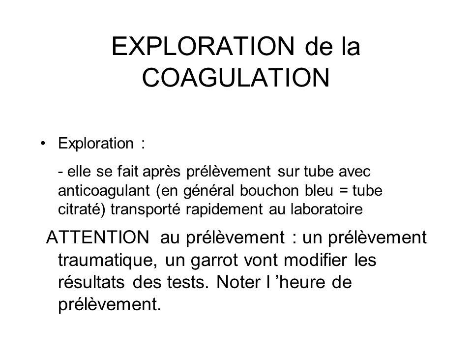 EXPLORATION de la COAGULATION Exploration : - elle se fait après prélèvement sur tube avec anticoagulant (en général bouchon bleu = tube citraté) tran