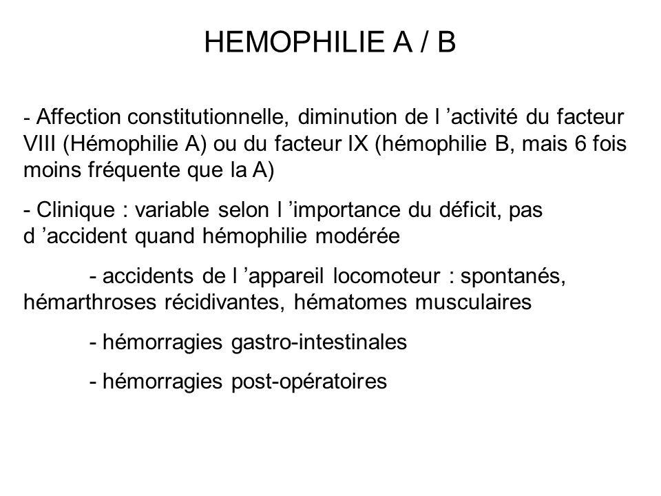HEMOPHILIE A / B - Affection constitutionnelle, diminution de l activité du facteur VIII (Hémophilie A) ou du facteur IX (hémophilie B, mais 6 fois mo