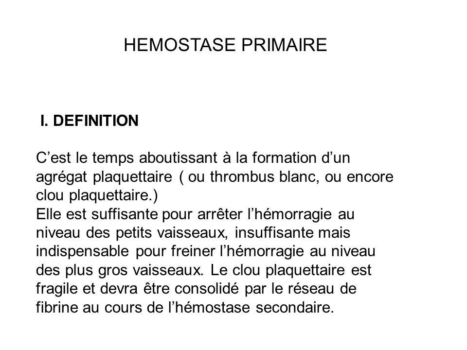 I. DEFINITION Cest le temps aboutissant à la formation dun agrégat plaquettaire ( ou thrombus blanc, ou encore clou plaquettaire.) Elle est suffisante