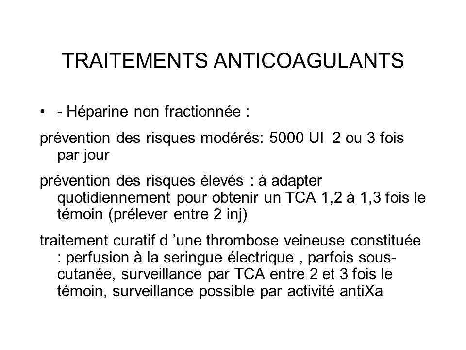 TRAITEMENTS ANTICOAGULANTS - Héparine non fractionnée : prévention des risques modérés: 5000 UI 2 ou 3 fois par jour prévention des risques élevés : à