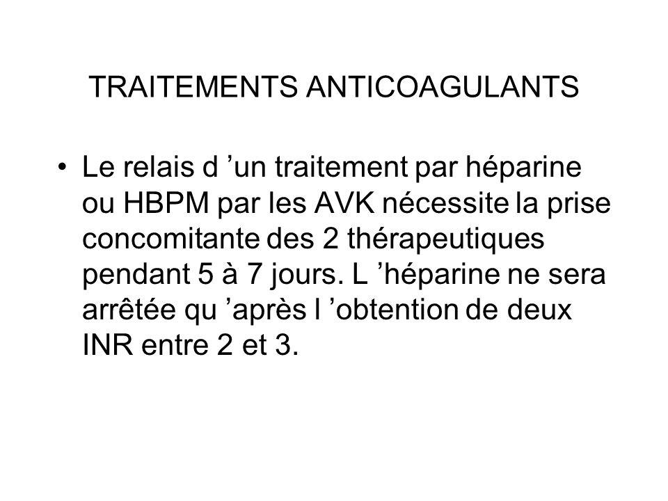 TRAITEMENTS ANTICOAGULANTS Le relais d un traitement par héparine ou HBPM par les AVK nécessite la prise concomitante des 2 thérapeutiques pendant 5 à