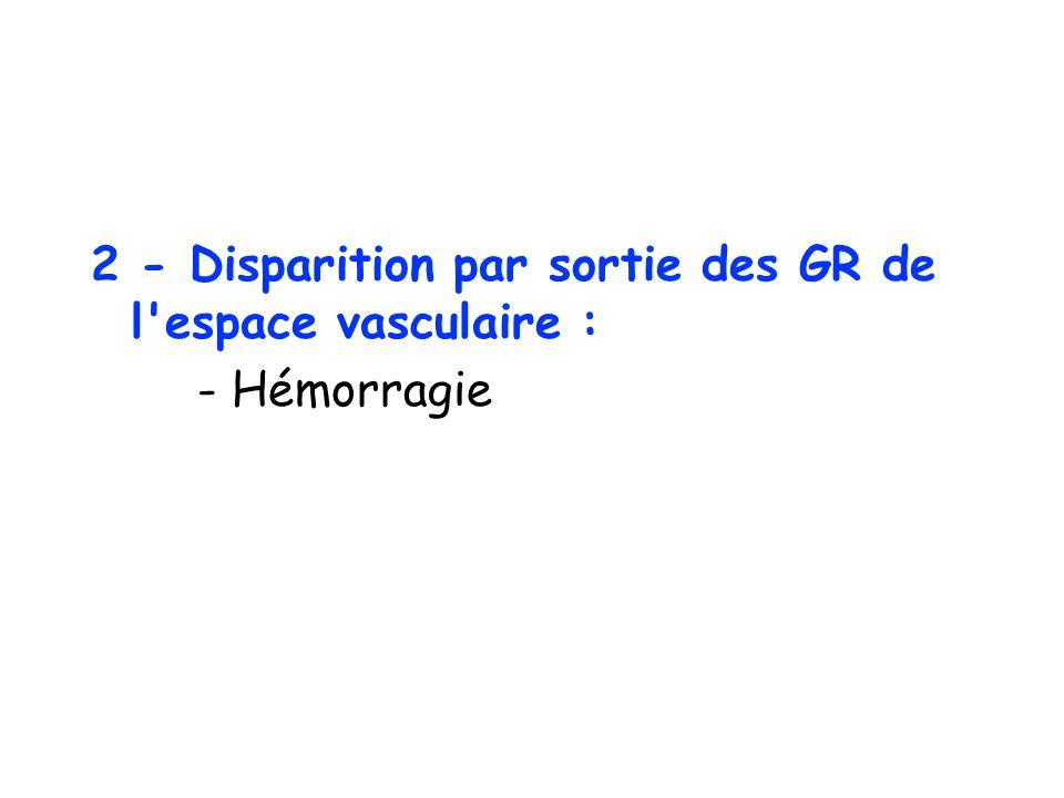 2 - Disparition par sortie des GR de l'espace vasculaire : - Hémorragie