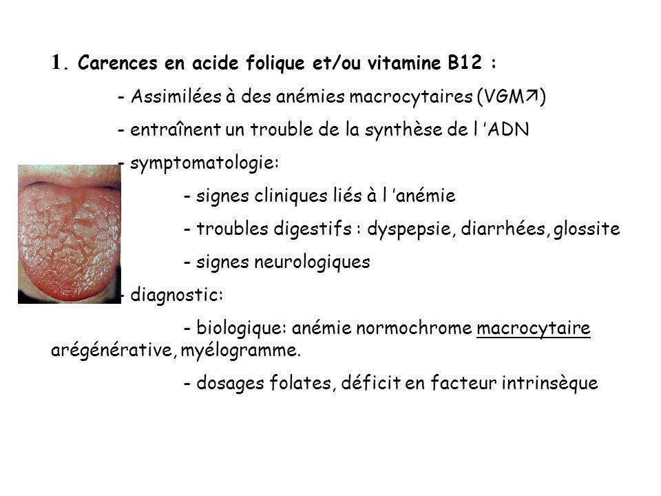 1. Carences en acide folique et/ou vitamine B12 : - Assimilées à des anémies macrocytaires (VGM ) - entraînent un trouble de la synthèse de l ADN - sy